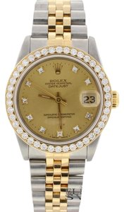 Rolex Rolex Datejust Midsize Diamond Dial Gold/SS 68273 w/Diamond Bezel