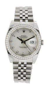 Rolex Rolex DateJust 36 Steel White Gold Silver Diamond Dial 116244