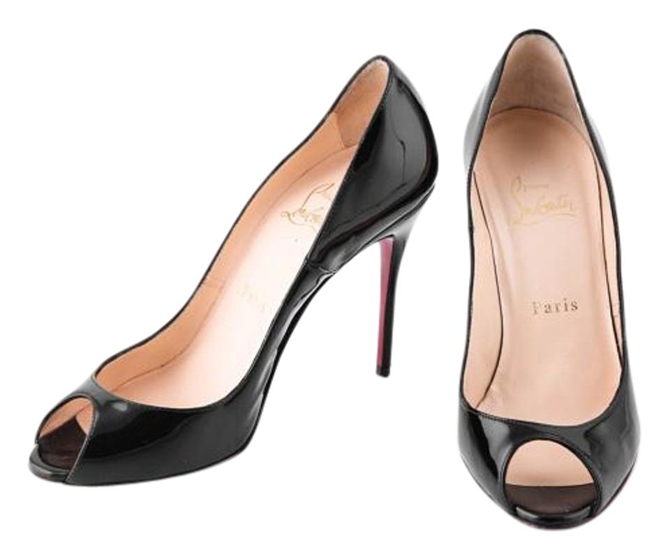 cb47aacc3557 Christian Louboutin Black Flo Patent Leather Red Sole Peep-toe Pumps ...