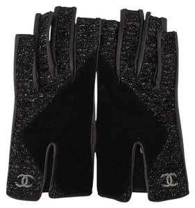 Chanel CHANEL Black Leather Velvet Gloves