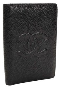 Chanel CHANEL Black Coin Case Caviar Business Card Leather ID Card Holder Small Bifold Wallet