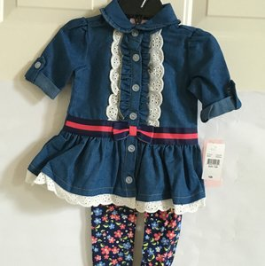 LITTLE LASS Button Down Shirt BLUE, RED