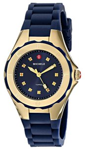 Michele Michele MWW12P000004 Jelly Bean Gold Plated Navy Blue Silicon Watch
