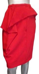 Oscar de la Renta Ruffle Straight Skirt red