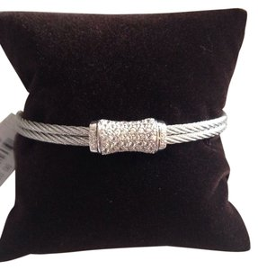 Charriol ALOR (CHARRIOL) WHITE SAPPHIRE, DIAMONDS & 18K GOLD STATION CABLE BANGLE