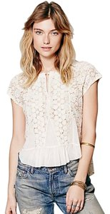 Free People Peplum Top Ivory Lace