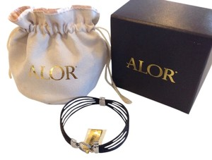 Charriol ALOR (CHARRIOL) DIAMOND & 18K GOLD BLACK CABLE BRACELET