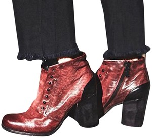 Free People Wine/Black Leather Ankle Moto A.S. 98 Wine/Black Boots