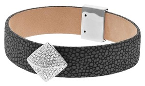 Michael Kors Michael Kors Crystal Embellished Textured Leather Bracelet
