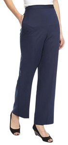 Alfred Dunner Navy Pull-on Short Elastic Waist Straight Pants Blue