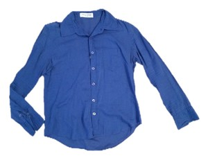 Natural Couture Button Down Shirt Cobalt Blue