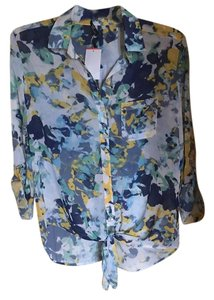 KUT from the Kloth Chiffon Floral Tie Top multicolored