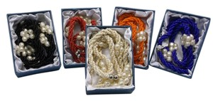 Set of 5 with Gift Boxes Endless Fashion Pearl Necklaces w Free Shipping