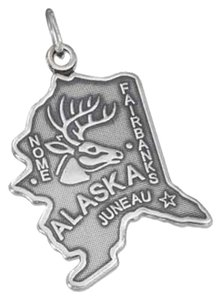 Impulses STERLING SILVER ANTIQUED ALASKA STATE CHARM