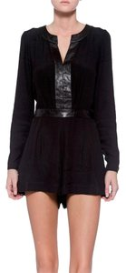 Twelfth St. by Cynthia Vincent Crepe Leather Romper Dress