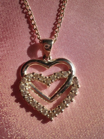 Other Like new Double heart silver crystals necklace