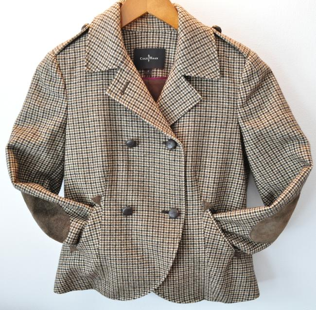 Cole Haan Fall Camel & Black Houndstooth Jacket