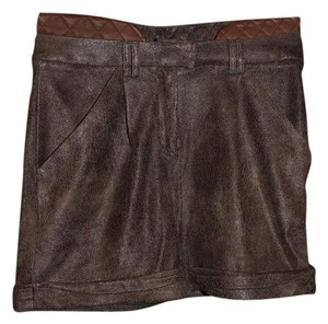 2b. RYCH Distressed Faux Leather Shorts Brown
