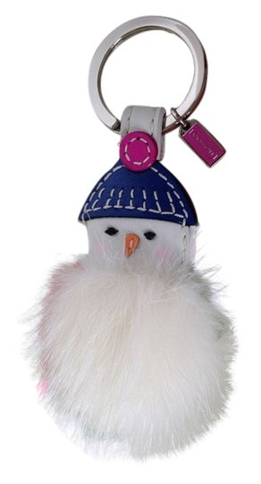 Coach coach mink and leather snowman keychain multicolor