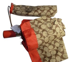 Coach Coach Signature Umbrella, Khaki/Vermillion Retractable F63364