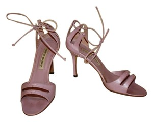 Manolo Blahnik Ankle Tie Purple Lilac Sandals
