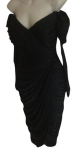 Lilly Rubin Spectacular Ruched Beaded Off Shoulder Vintage Puff Sleeve Goddess Formal Evening Gala Dress