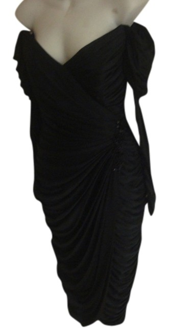 Item - Dark Black 80s Fully Ruched Goddess Evening Formal Beaded Wiggle Pinup Draped Gayla Luxe Mid-length Cocktail Dress Size 4 (S)