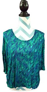 Express Hi Lo Modal Soft Nwt Tie Dye Top Marble Blue Green