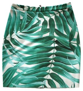 Topshop Pencil Skirt Green, White, Tropical print