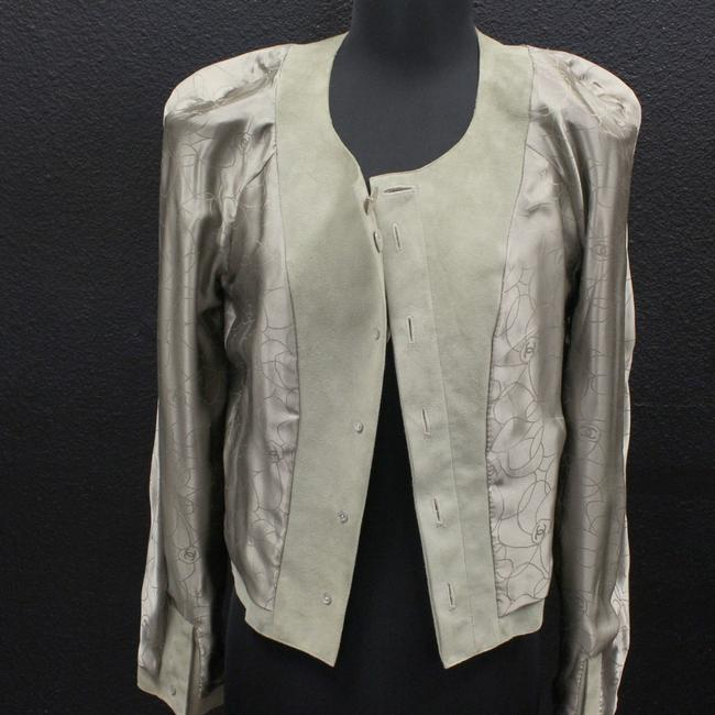 Chanel Tweed Caviar Flower Foat Goat Ivory Leather Jacket