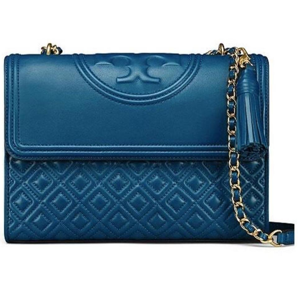 2c1612483b95 Tory Burch Fleming Medium Symphony Blue Leather Shoulder Bag - Tradesy