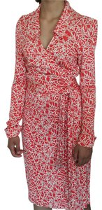 Diane von Furstenberg short dress Coral print Dvf Wrap Spring on Tradesy