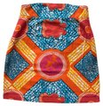 Boxing Kitten African Wax Pencil High Waist Mini Batik Mini Skirt Print, Orange, Blue, Pink