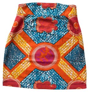 Boxing Kitten African Wax Pencil High Waist Mini Mini Skirt Print, Orange, Blue, Pink
