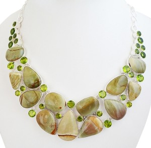Gorgeous Genuine Jasper & Quartz Necklace