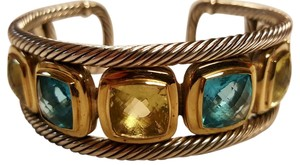 David Yurman STERLING SILVER with 18K YELLOW GOLD CITRINE AND TOPAZ CUFF BRACELET