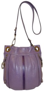 B. Makowsky Refurbished Leather Lavender Cross Body Bag