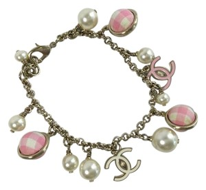 Chanel Pearl and Pink Gingham Charm Bracelet