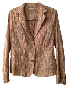 CAbi Clothing Stripes Coat Spring Sweater Cute Casual Ginger Snap plaid beige and brown Jacket