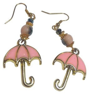 Other New Umbrella Charm Earrings Pink Gold Long Large J2553