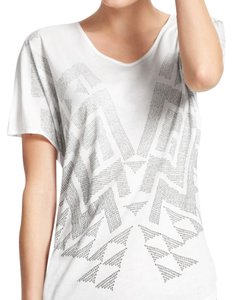 CAbi T Shirt White with silver print