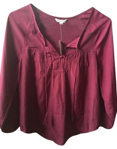 American Eagle Outfitters Peasant Flyaway Polyester Top Burgundy