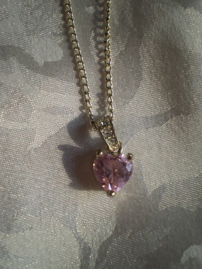Unknown Pink sapphire heart necklace w/crystals