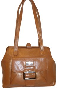 Biacci Refurbiahed Leather Shoulder Satchel in Tan