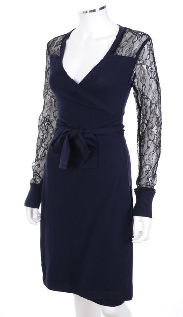 Diane von Furstenberg Dvf Edwardian Lace Work Wrap Dress Image 2