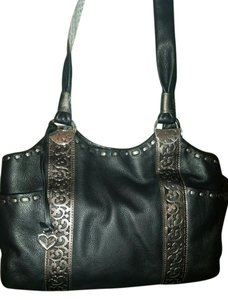 Brighton Laser Detail Glove Soft Tote in Black & Pewter
