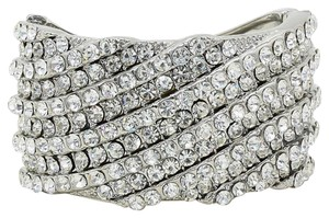 Other Sparkling Rhinestone And Crystal Silver Cuff Bracelet Bangle