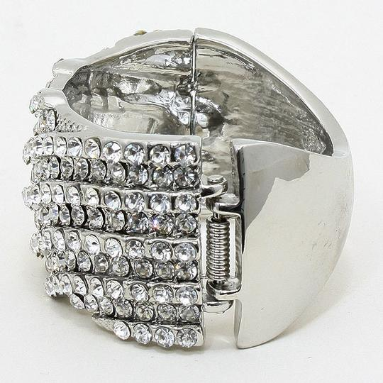 Other Sparkling Rhinestone And Crystal Silver Cuff Bracelet Bangle Image 1