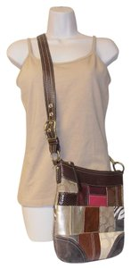 Coach Designer Leather Suede Patchwork Adjustable Strap Cross Body Bag