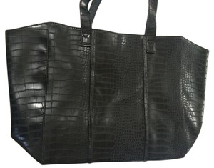 Neiman Marcus Embossed Crocodile Big Tote in black
